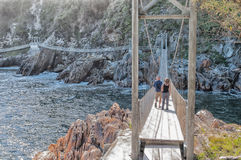Suspension bridges at the mouth of Storms River Royalty Free Stock Images