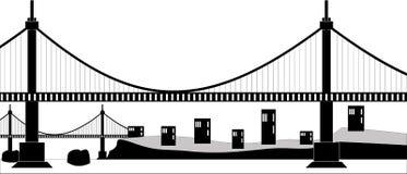 Suspension cable bridge. Ilustration of a suspension cable bridge, black silhouette Stock Images