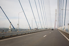 Suspension cable bridge in Vladivostok Royalty Free Stock Images