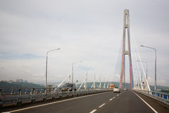 Suspension cable bridge in Vladivostok Stock Photo