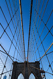 Suspension Cables and West Tower of Brooklyn Bridge, New York Stock Photos