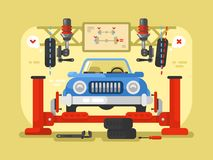 Suspension car design flat Royalty Free Stock Images