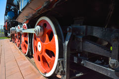 Suspension and driving mechanism of an old locomotive wheels Stock Images