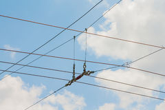 Suspension of electric cables under tension Stock Photo