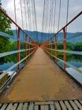 Suspension foot bridge in Kerala stock photos