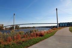 Suspension foot bridge royalty free stock photography