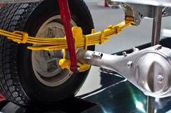 The suspension of the pickup. For show in motor show event Stock Images
