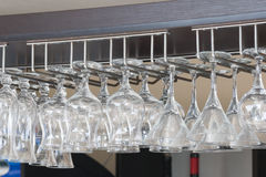 Suspension for pure glasses in cafe Royalty Free Stock Images