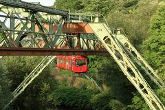Suspension railway in Wuppertal. Attraction and public transport royalty free stock images