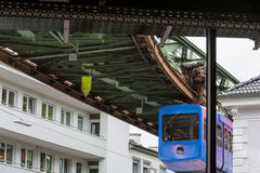 Unique suspension train in Wuppertal, Germany. Royalty Free Stock Images