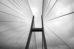 Suspension tension bridge. Black and white close up of a suspension or tension type bridge Stock Images