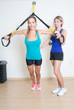 Suspension training exercise Royalty Free Stock Photos