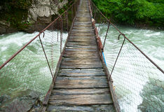 Suspension walking bridge Stock Images