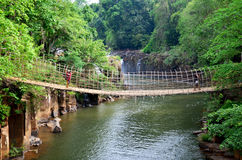 Suspension wooden and bamboo bridge for cross over stream river Royalty Free Stock Images