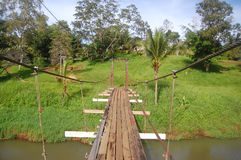Suspention bridge. In Sogeri village, Papua New Guinea Royalty Free Stock Photography