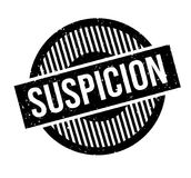 Suspicion rubber stamp. Grunge design with dust scratches. Effects can be easily removed for a clean, crisp look. Color is easily changed Stock Image
