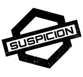 Suspicion rubber stamp. Grunge design with dust scratches. Effects can be easily removed for a clean, crisp look. Color is easily changed Royalty Free Stock Photos