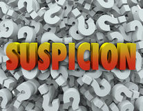 Suspicion Word Question Mark Background Wonder Suspect Royalty Free Stock Photography