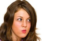 Suspicious blond woman. Portrait of a suspicious blond woman Stock Images