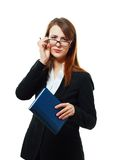 Suspicious business woman Royalty Free Stock Image
