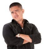 Suspicious Hispanic Man Stock Photography