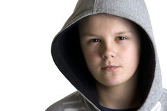 Suspicious hooded boy Stock Photos