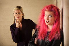 Suspicious Mother with Daughter Royalty Free Stock Photography