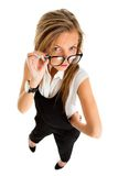 Suspicious upset angry and funny secretary taking off her glasse Stock Photo