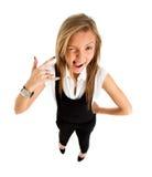 Suspicious upset angry and funny secretary taking Stock Photo