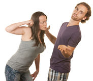 Suspicious Woman Threatens Boyfriend Royalty Free Stock Photos