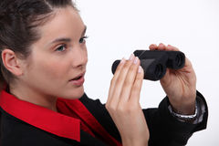 Suspicious woman Stock Photo