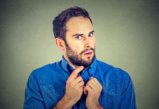 Suspicious worried man Royalty Free Stock Images