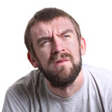 Suspicious worried man portrait isolated Stock Images