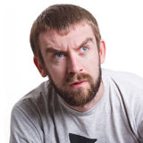 Suspicious worried man portrait isolated Royalty Free Stock Images