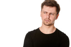 Suspicious Young Man With Light Beard, Isolated On White, With S Royalty Free Stock Photography