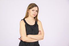 Suspiction of woman. Young woman demondtrates various emotions in studio Stock Photography