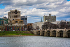 The Susquehanna River and buildings in downtown, in Harrisburg, Royalty Free Stock Photo