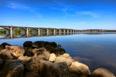 Susquehanna River and Columbia Wrightsville Bridge Stock Photo