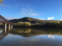 Susquehanna River Coxton Eisenbahnbrücke Stockfotos