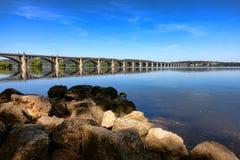 Susquehannarivier en de Brug van Colombia Wrightsville Stock Foto