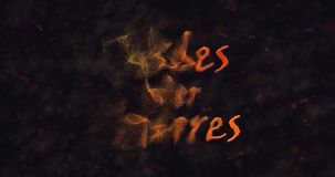 Susses oder Saures (Trick or Treat) German text dissolving into dust from left stock footage