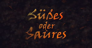 Susses oder Saures & x28 Τέχνασμα ή Treat& x29  Γερμανική διάλυση κειμένων στη σκόνη από το αριστερό Στοκ φωτογραφία με δικαίωμα ελεύθερης χρήσης