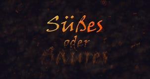 Susses oder Saures y x28; Truco o Treat& x29; Texto alemán que disuelve en el polvo de la parte inferior Imagen de archivo