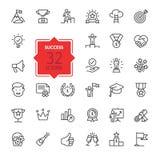 Sussess, награды, элементы достижения - минимальная тонкая линия комплект значка сети Собрание значков плана Стоковое Изображение RF