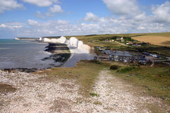 Sussex coast. Seven sisters white chalk cliffs in England Stock Photo