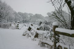 Sussex Countryside under a bed of snow. A typical english field in winter under a bed of snow Stock Photography