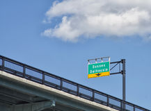 Sussex Dalhousie sign on highway in Canada`s capital Stock Photography