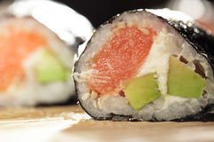 Susshi roll with salmon and avocado. Stock Photo