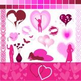 Sussidi di disegno dei biglietti di S. Valentino Fotografia Stock