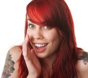 Sussurro felice della giovane donna fotografie stock libere da diritti